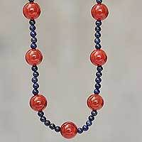 Carnelian and lapis lazuli beaded necklace, 'Fiery Sea' - Hand Crafted Carnelian and Lapis Lazuli Beaded Necklace