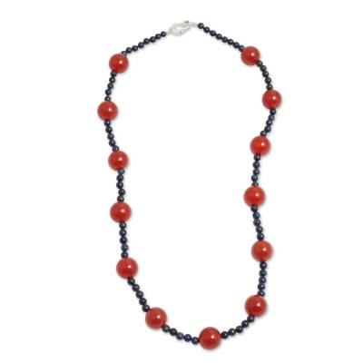 Hand Crafted Carnelian and Lapis Lazuli Beaded Necklace