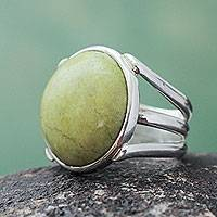 Serpentine cocktail ring, 'Early Grass' - Andean Artisan Crafted Silver and Serpentine Cocktail Ring