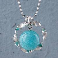 Amazonite pendant necklace, 'Azure Aura' - Amazonite and Sterling Silver Hand Crafted Necklace