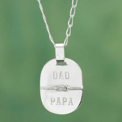 Sterling silver pendant necklace, 'Honor Thy Father' - Dad Papa Love Knot Silver Pendant Necklace from Peru