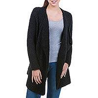 Alpaca cardigan, 'Ebony Boucle' - Alpaca Blend Black Open Front Cardigan from Peru