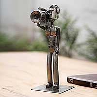 Recycled metal sculpture, 'Rustic Cameraman' - Recycled Metal Handcrafted Videographer Sculpture