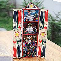 Wood retablo, 'Holy Week' - Handcrafted Christian Theme Easter Retablo Diorama