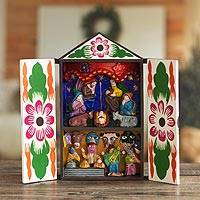 Wood retablo, 'Christmas with Musicians' - Handcrafted Christmas Retablo Diorama Nativity Scene
