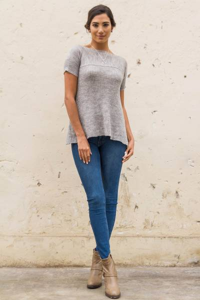 Alpaca blend tunic, 'Arequipa Mists' - Alpaca Blend A-line Tunic Top Knitted Apparel for Women