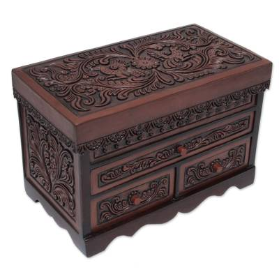 Wood and leather jewelry box, 'Garden Memories' - Andean Hand Tooled Leather and Wood Jewelry Box with Flowers