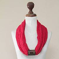 Alpaca blend and leather accent infinity scarf,