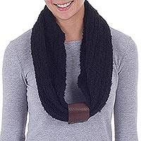 Alpaca blend and leather accent infinity scarf, 'Infinite Night' - Black Alpaca Blend Infinity Scarf with Leather Accent