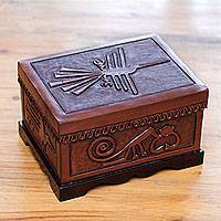 Wood and leather jewelry box, 'Nazca World' - Nazca Theme Hand Tooled Brown Leather and Wood Jewelry Box