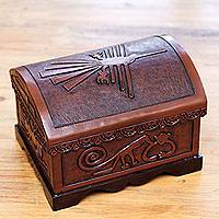 Wood and leather jewelry box, 'Nazca Icons' - Nazca Animal Theme Hand Tooled Brown Leather Jewelry Box