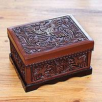 Wood and leather jewelry box, 'Andean Songbirds' - Hand Tooled Brown Leather Bird Theme Jewelry Box