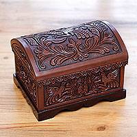 Wood and leather jewelry box, 'Bird Song' - Hand Tooled Brown Leather Treasure Chest Jewelry Box