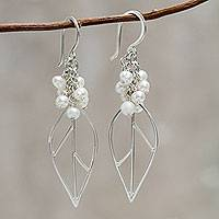 Cultured pearl dangle earrings, 'Leaf in Dewdrops' - Andean Silver Artisan Crafted Earrings with Cultured Pearl