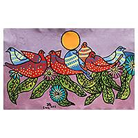 'Seven Alliances with Sleep' (2012) - Colorful Naif Bird Original Painting from Peru
