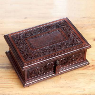 Mohena wood and leather jewelry box, 'Spanish Heritage' - Peruvian Colonial Hand Tooled Brown Leather Jewelry Box