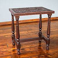 Mohena wood and leather table, 'Moche Fisherman' - Peruvian Fishing Theme Hand Tooled Leather Table