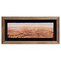 'Plain' - Earth Tone Peruvian Landscape Painting in a Wood Frame