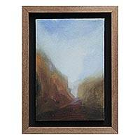 'Entrance' - Peruvian Beach Landscape Painting and Frame