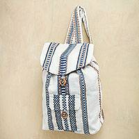 Alpaca blend backpack, 'Cloud Brushed Sky' - Handwoven Alpaca Blend White and Blue Backpack Bag