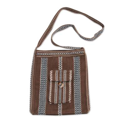 Brown Handwoven Alpaca Blend Peruvian Shoulder Bag