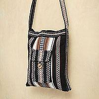 Alpaca blend shoulder bag, 'Midnight Song' - Peruvian Handwoven Alpaca Shoulder Bag in Black with Brown