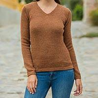 100% alpaca sweater, 'Brick Melange' - Women's Solid Brick V-Neck Alpaca Sweater
