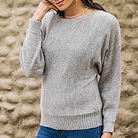 100% alpaca sweater, 'Grey Dolman Grace'