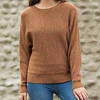 100% alpaca sweater, 'Russet Dolman Grace' - Peru Dolman Sleeve Dark Orange Alpaca Pullover Sweater