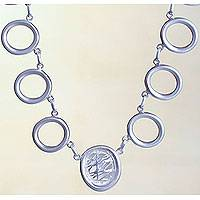 Sterling silver link necklace, 'Play of Light' - Peruvian Silver Handcrafted Link Necklace