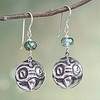 Tourmaline dangle earrings, 'Andean Owl' - Tourmaline Handcrafted Bird Earrings in Sterling Silver