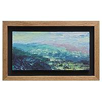 'Imaginary Lake' - Impressionist Style Peruvian Seascape with Wood Frame