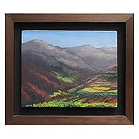 'Palacala II' - Peruvian Countryside Landscape Painting with Frame