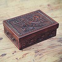 Mohena wood and leather jewelry box, 'Chavin Eagle'