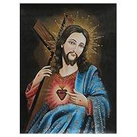 'Jesus with the Cross' - Gilded Limited Edition Christian Art Oil Painting of Jesus