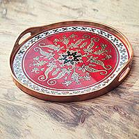 Reverse painted glass tray, 'Red Colonial Medallion' - Gilded Red Reverse Painted Glass Serving Tray from Peru