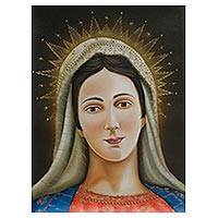 'Virgin Mary II' - Peru Colonial Christian Art Oil Painting