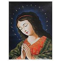 'Virgin Mary at Prayer' - Original Peruvian Christian Art Oil Painting of Mary