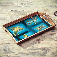 Reverse painted glass tray, 'Nazca in Blue' - Nazca Theme Reverse Painted Glass Serving Tray from Peru