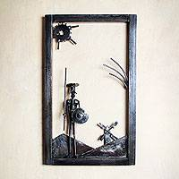 Recycled metal wall art, 'Rustic Don Quixote' - Rustic Don Quixote Recycled Wall Sculpture