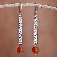 Carnelian dangle earrings, 'Vermilion Passion' - Carnelian on Sterling Silver Earrings Peru Artisan Jewelry