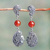 Carnelian dangle earrings, 'Gentle Wind' - Ornate Handcrafted Sterling Silver Earrings with Carnelian