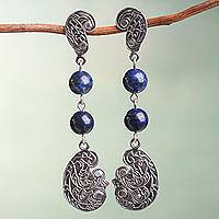 Lapis lazuli dangle earrings, 'Gentle Wind' - Sterling Silver Ornate Handcrafted Lapis Lazuli Earrings