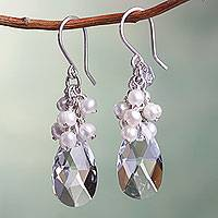 Cultured pearl cluster earrings, 'Crystalline Allure' - White Cultured Pearl Cluster Earrings with Swarovski Crystal