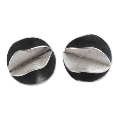 Andean Sterling Silver Artisan Crafted Button Earrings