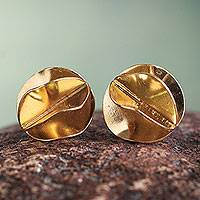 Gold vermeil button earrings, 'Golden Petals' - Gold Vermeil Artisan Crafted Andean Button Earrings