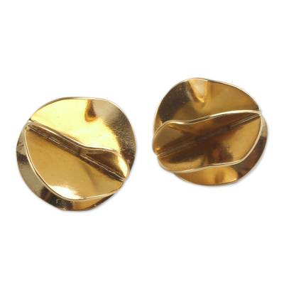 Gold Vermeil Artisan Crafted Andean Button Earrings