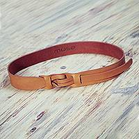 Leather belt, 'Tan Qallu' - Women's Tan Brown Leather Belt Modern Design