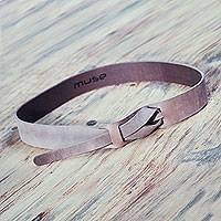 Leather belt, 'Classical Cocoa' - Cocoa Brown Leather Belt for Women in Modern Design