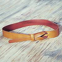 Leather belt, 'Classical Tan' - Tan Brown Leather Belt for Women in Modern Design